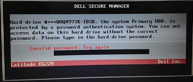 Dell Latitude D830 HDD password