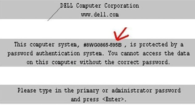 Dell 595B Bios Master Password