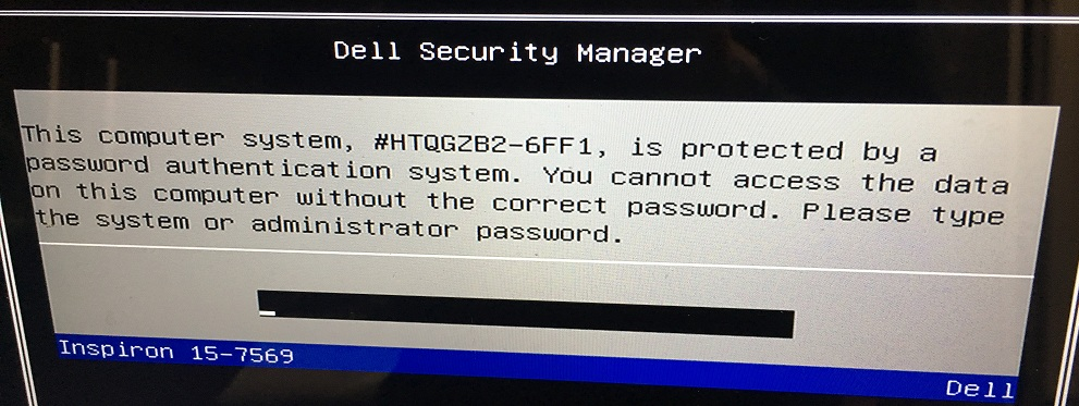 dell 6FF1 bios password
