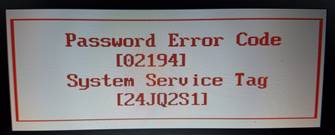 dell password error code
