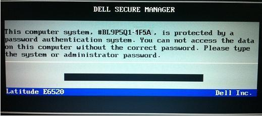 dell laptop with the password authentication system